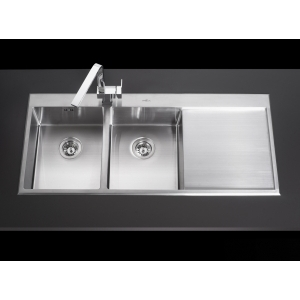 MEX INSET SINK 2 BOWLS SQUARE-ROUND 1 DRAINER Mod.SRD1162 (S/S)