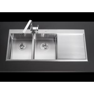 อ่างล้างจานหลุมเหลี่ยมมุมมน 2 หลุม 1 ที่พักขวา MEX รุ่น SRD1162 (สเตนเลส สตีล)
